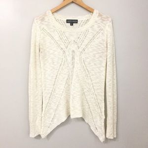 Almost Famous Cream Crochet Knit Sweater Size XL